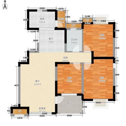 爱菊花园3室0厅1卫1厨96.00㎡户型图