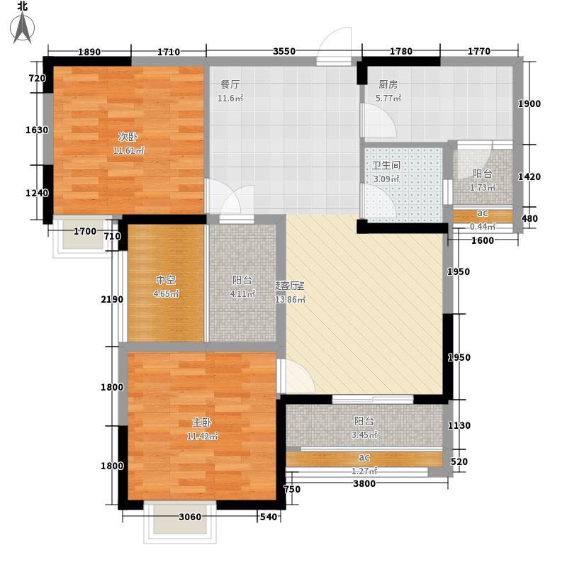 世纪万通漫谷92.00㎡3、5、6、8号楼A1户型