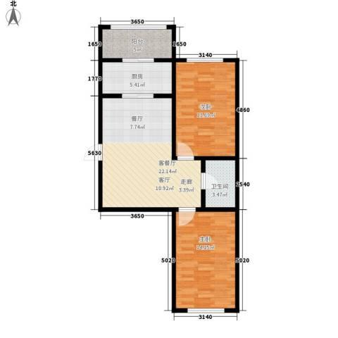 东方・新湖俪城2室1厅1卫1厨90.00㎡户型图