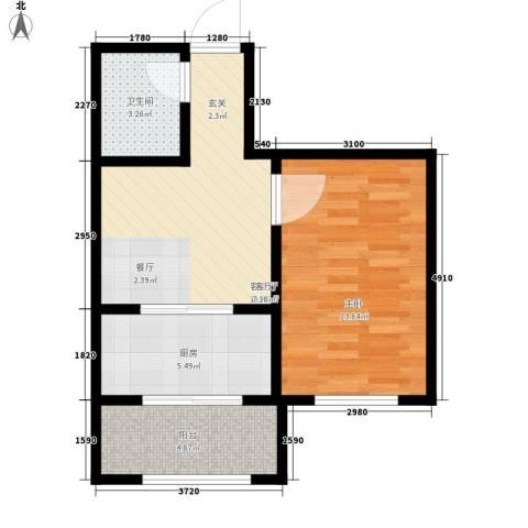 东方・新湖俪城1室1厅1卫1厨57.00㎡户型图