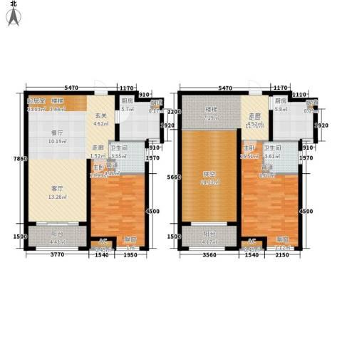御景天成2室0厅2卫2厨131.00㎡户型图