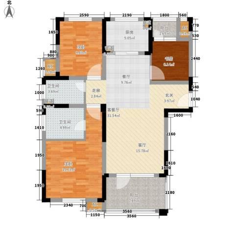 满庭春MOMΛ3室1厅2卫1厨119.00㎡户型图