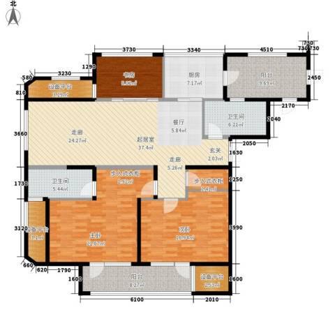 宝利国际3室0厅2卫1厨143.00㎡户型图