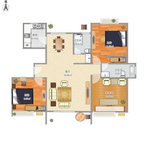 阳光花苑2室1厅2卫1厨103.00㎡户型图