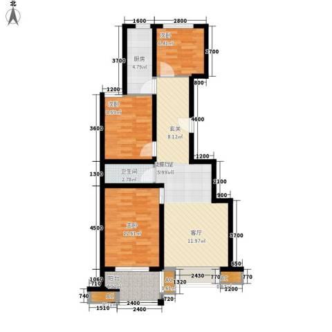 恒圆魏都3室0厅1卫1厨99.00㎡户型图