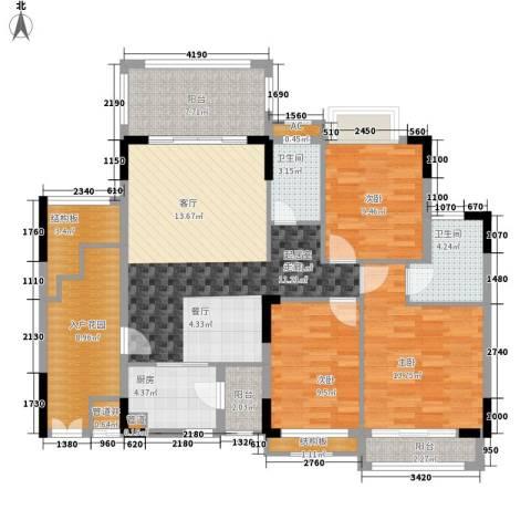 百盈花园3室0厅2卫1厨145.00㎡户型图