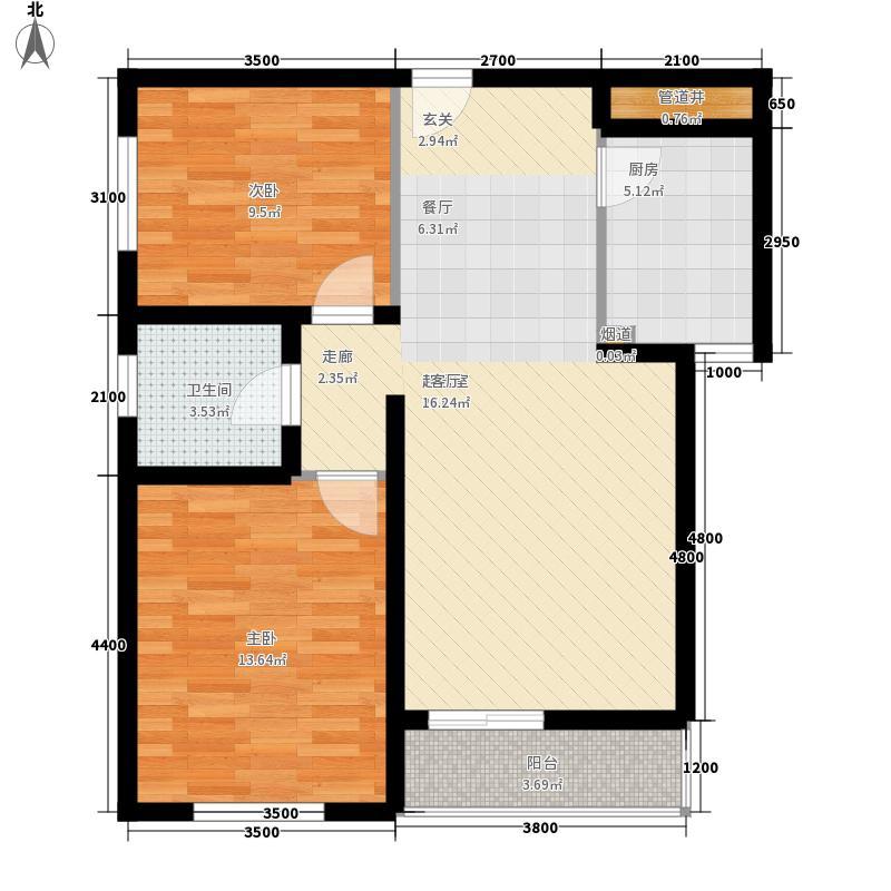 杰得国际广场J户型两室两厅一卫83.43平米户型