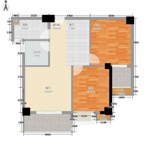 龙泉华庭2室0厅1卫1厨95.00㎡户型图