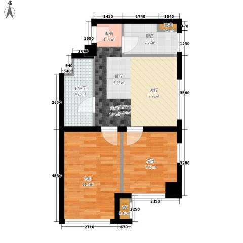 熙悦华府2室0厅1卫1厨69.00㎡户型图