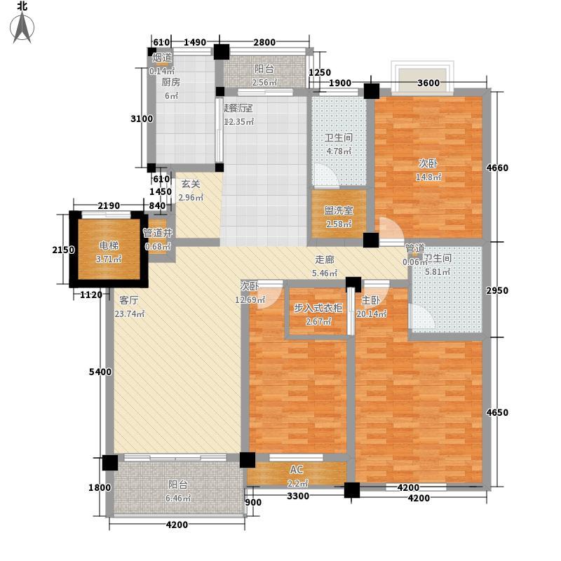 林城香格里拉147.60㎡三房两厅两卫户型