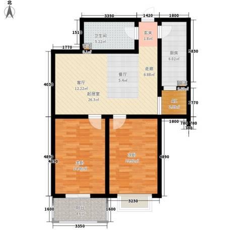 金宇山顶花园2室0厅1卫1厨105.00㎡户型图