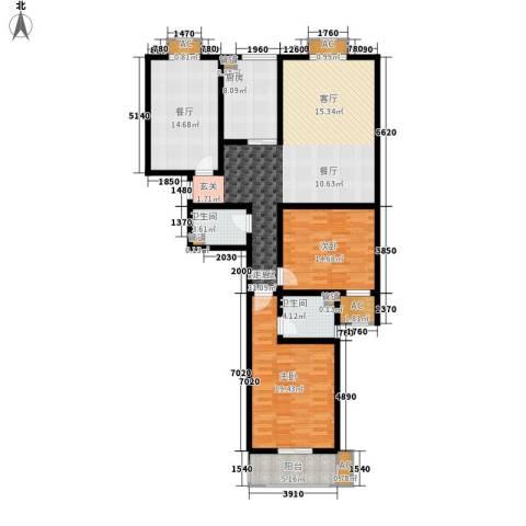 金宇山顶花园2室1厅2卫1厨163.00㎡户型图