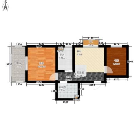 金宇山顶花园2室0厅1卫1厨65.00㎡户型图