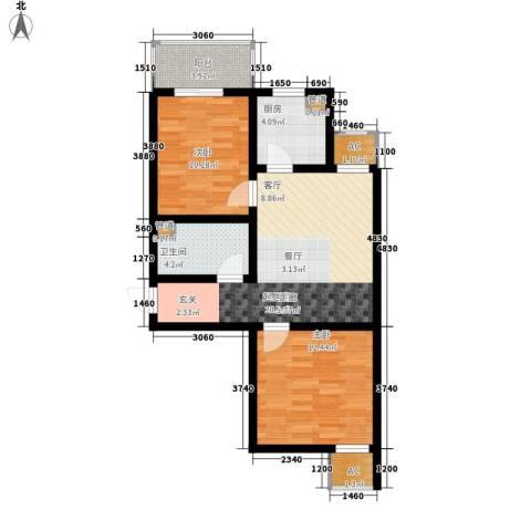 金宇山顶花园2室0厅1卫1厨85.00㎡户型图