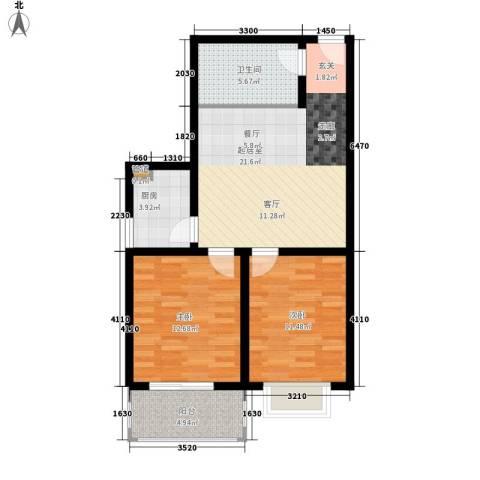 金宇山顶花园2室0厅1卫1厨87.00㎡户型图