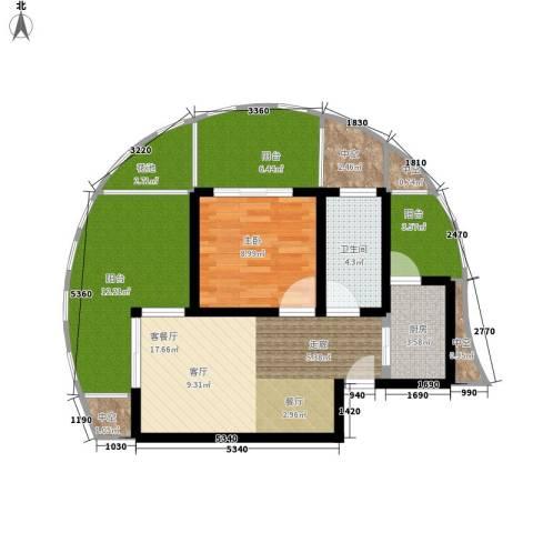 博鳌阳光海岸1室1厅1卫1厨76.00㎡户型图