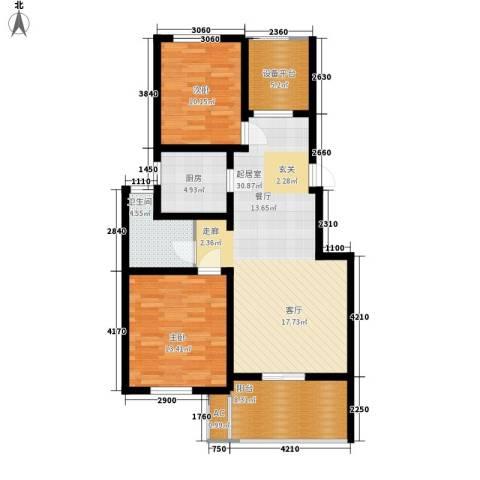 锦都花园2室0厅1卫1厨88.00㎡户型图