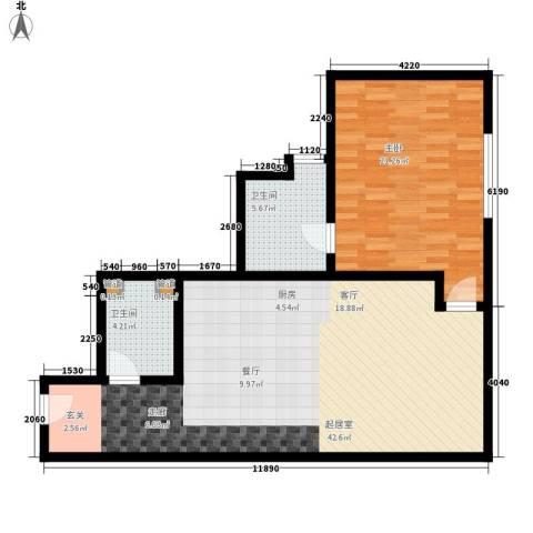龙禧中心1室0厅2卫0厨83.00㎡户型图