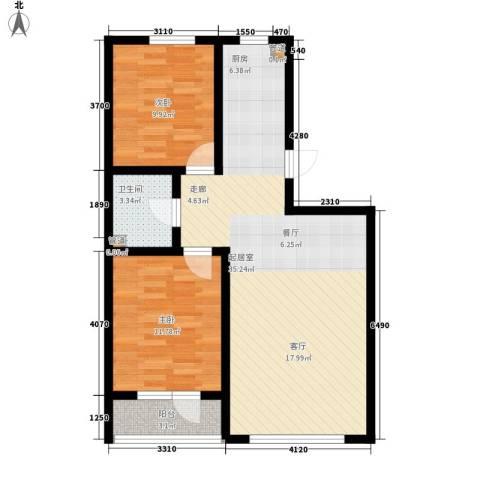 元基首府2室0厅1卫0厨91.00㎡户型图