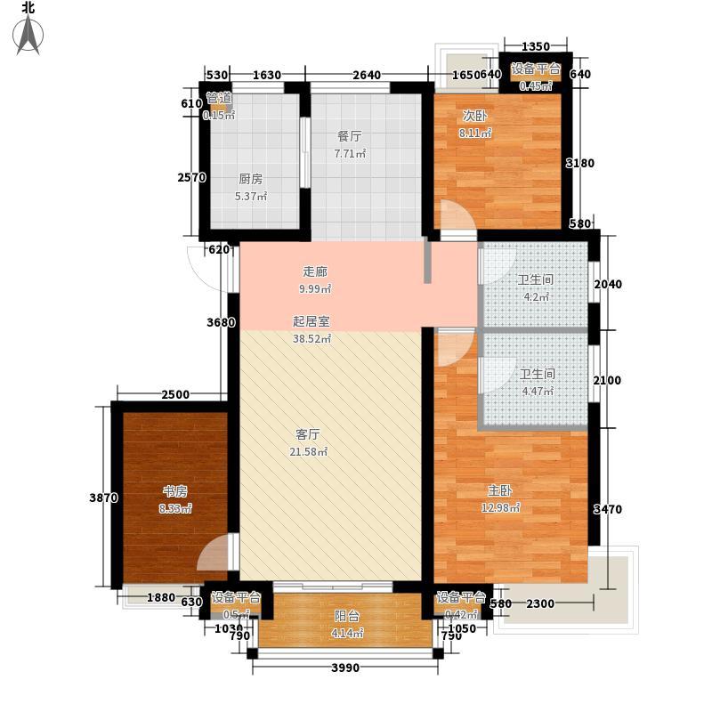 东壹区132.00㎡高层8号楼标准层D1户型