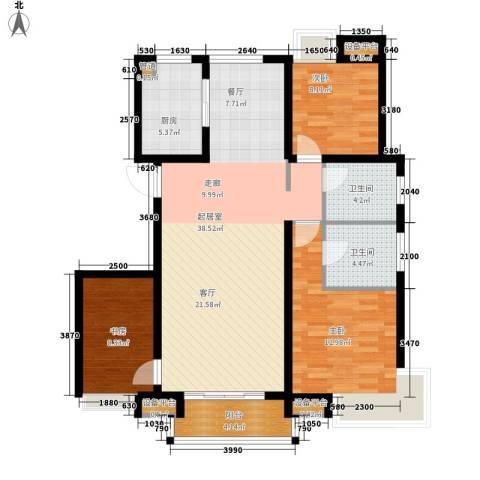 东壹区3室0厅2卫1厨101.02㎡户型图