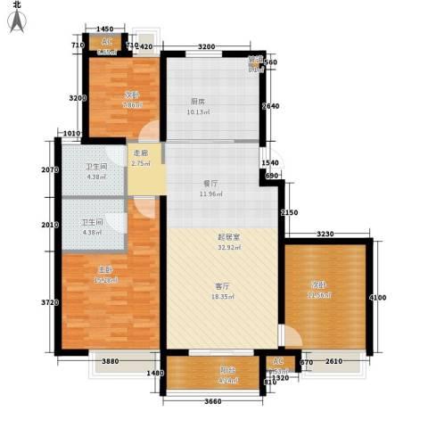 东壹区3室0厅2卫1厨104.60㎡户型图