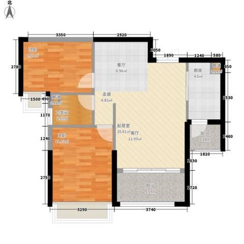 中洋公园首府2室0厅1卫1厨87.00㎡户型图