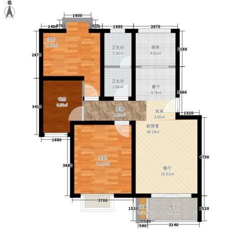 湖岸名家3室0厅2卫1厨110.00㎡户型图