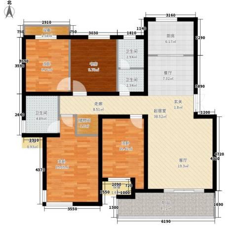 南浩花园4室0厅3卫1厨125.00㎡户型图