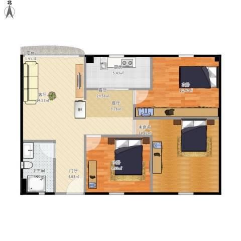 云顶花园2室1厅1卫1厨96.00㎡户型图