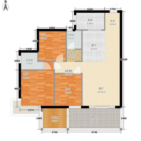 竹园新城3室0厅2卫1厨145.00㎡户型图