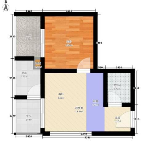 佳铭东郡1室1厅1卫1厨48.00㎡户型图