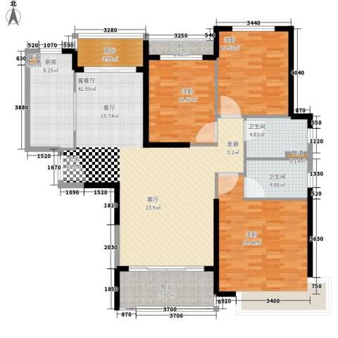 恒大御景3室1厅2卫1厨131.00㎡户型图