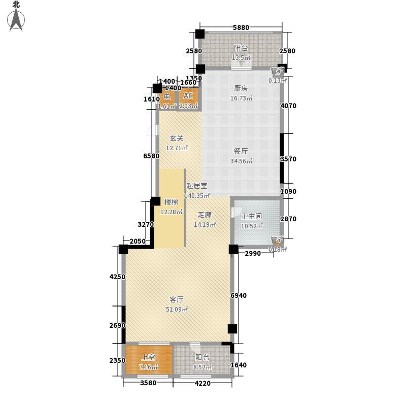 景山玫瑰园202.00㎡二期花园洋房6#L-C地上一层户型