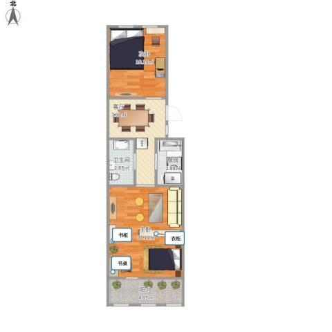 西坝河东里2室1厅1卫1厨57.00㎡户型图