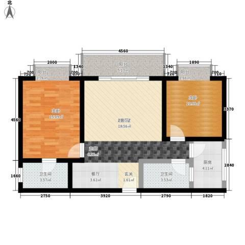 东海金港湾2室0厅2卫1厨99.00㎡户型图