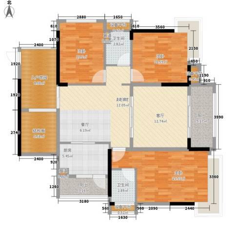 中源国际城3室1厅2卫1厨101.32㎡户型图