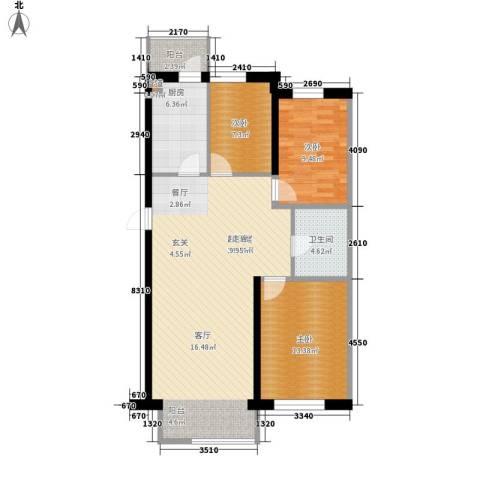 豪邦蓝调倾城3室0厅1卫1厨118.00㎡户型图