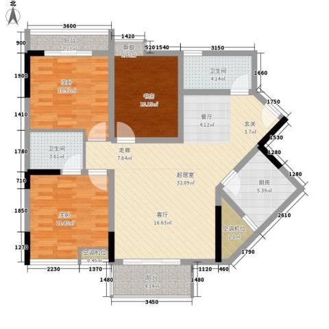 永鸿尚海湾3室0厅2卫1厨126.00㎡户型图