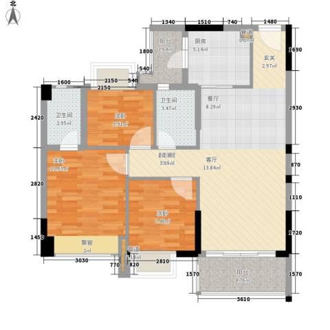 平湖秋月三期3室0厅2卫1厨88.00㎡户型图