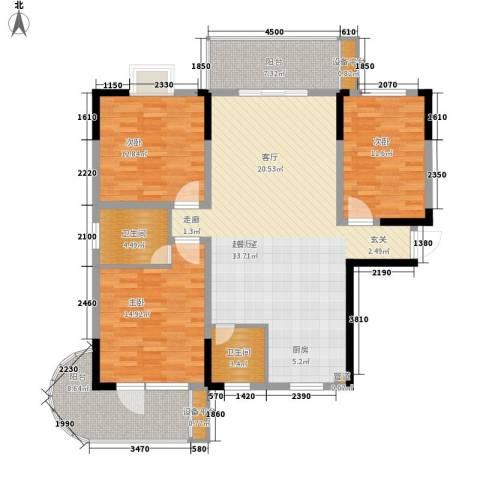 鑫天山城明珠3室0厅2卫0厨127.00㎡户型图