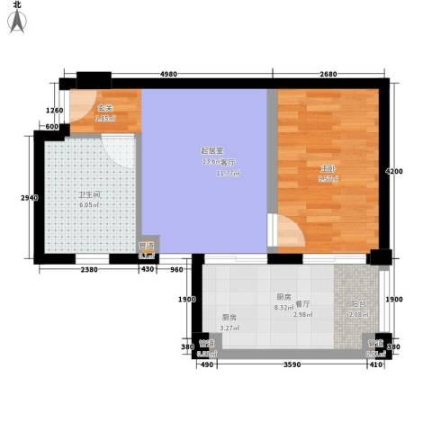 山水云间·隆阁温泉山庄1室0厅1卫1厨55.00㎡户型图