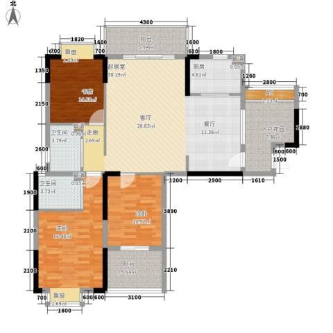 咸宁中央城3室0厅2卫1厨154.00㎡户型图