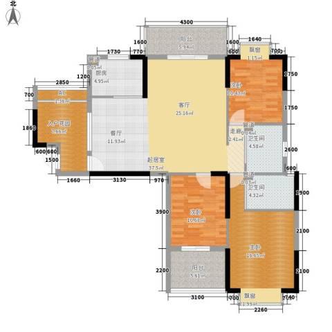 咸宁中央城3室0厅2卫1厨155.00㎡户型图
