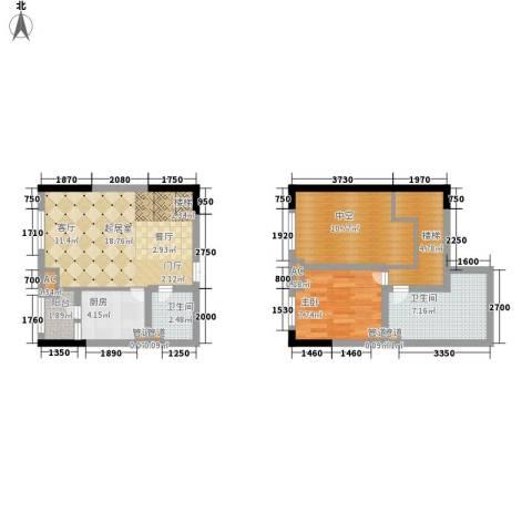 龙城国际1室0厅2卫1厨58.60㎡户型图