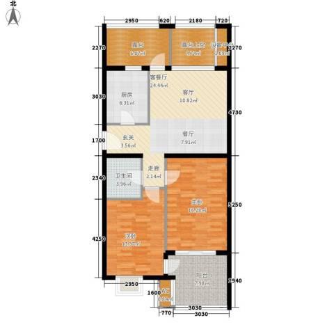 永康城市花园2室1厅1卫1厨98.00㎡户型图