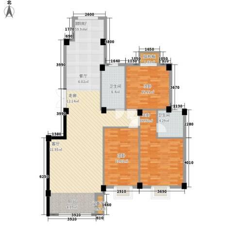 南郡天下・御园3室1厅2卫0厨152.00㎡户型图