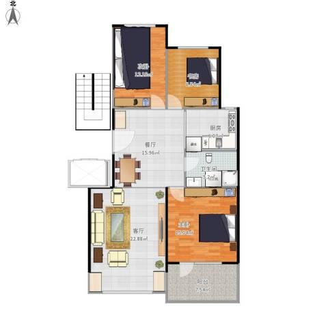 昂展公园里3室2厅1卫1厨125.00㎡户型图