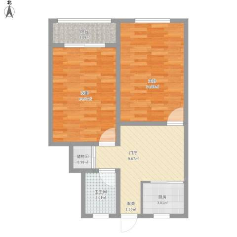 长风二村1号2室1厅1卫1厨72.00㎡户型图
