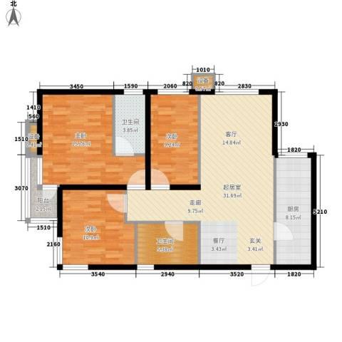 武阳丽园3室0厅2卫1厨125.00㎡户型图